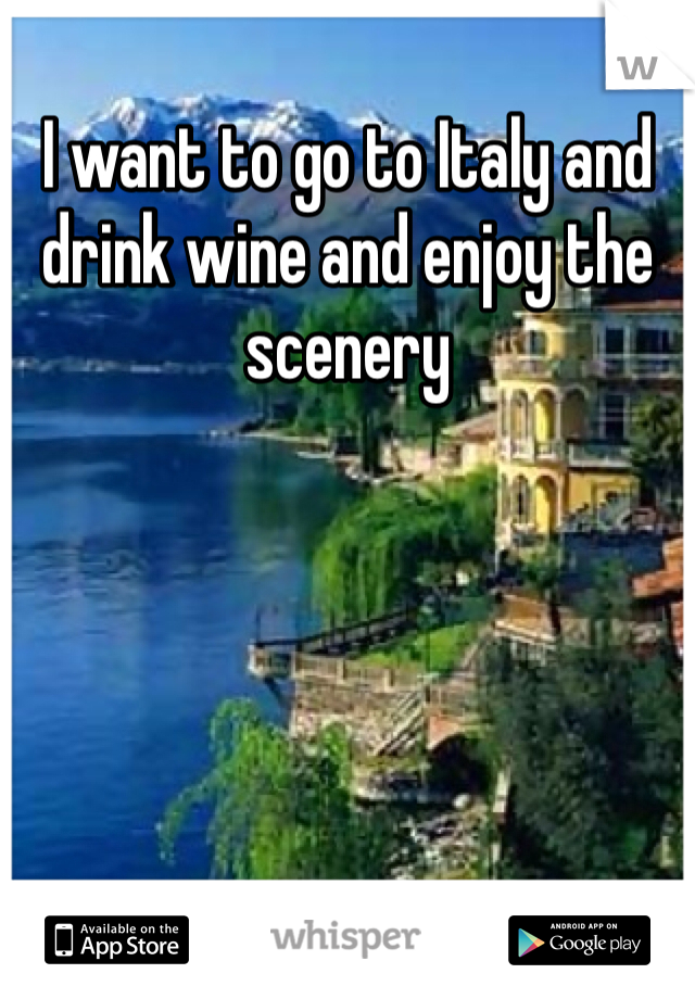 I want to go to Italy and drink wine and enjoy the scenery