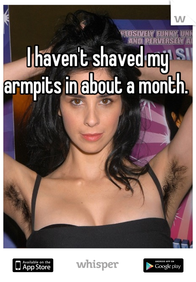I haven't shaved my armpits in about a month.
