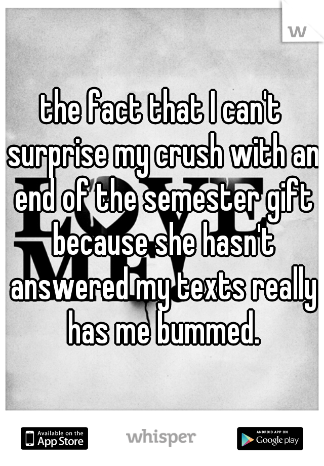 the fact that I can't surprise my crush with an end of the semester gift because she hasn't answered my texts really has me bummed.