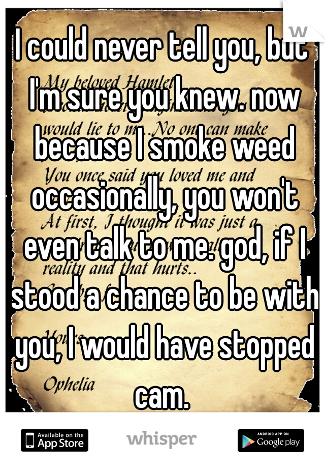 I could never tell you, but I'm sure you knew. now because I smoke weed occasionally, you won't even talk to me. god, if I stood a chance to be with you, I would have stopped cam.