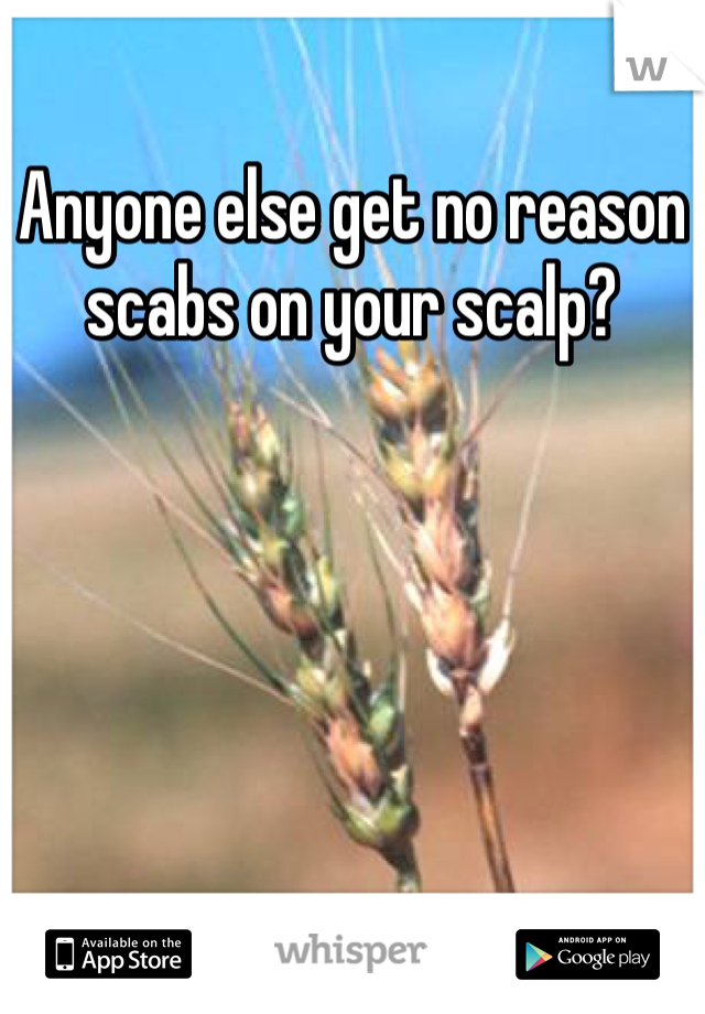 Anyone else get no reason scabs on your scalp?