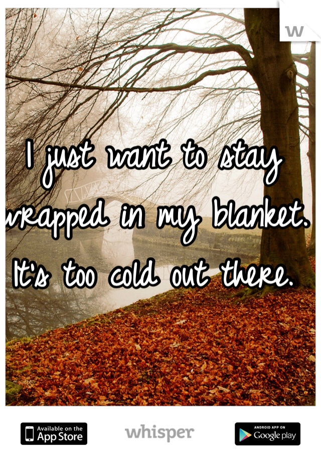 I just want to stay wrapped in my blanket. It's too cold out there.