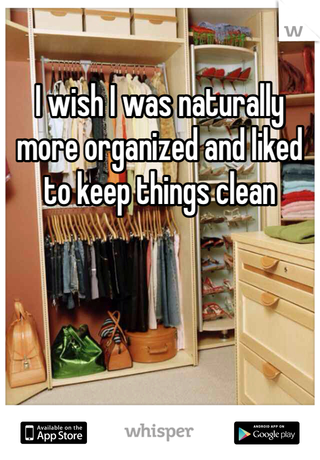 I wish I was naturally more organized and liked to keep things clean