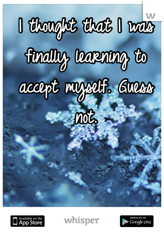 I thought that I was finally learning to accept myself. Guess not.