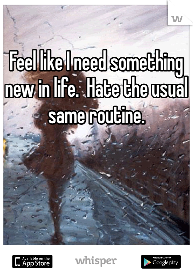 Feel like I need something new in life.  Hate the usual same routine.
