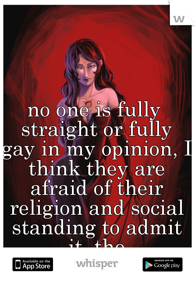 no one is fully straight or fully gay in my opinion, I think they are afraid of their religion and social standing to admit it, tho