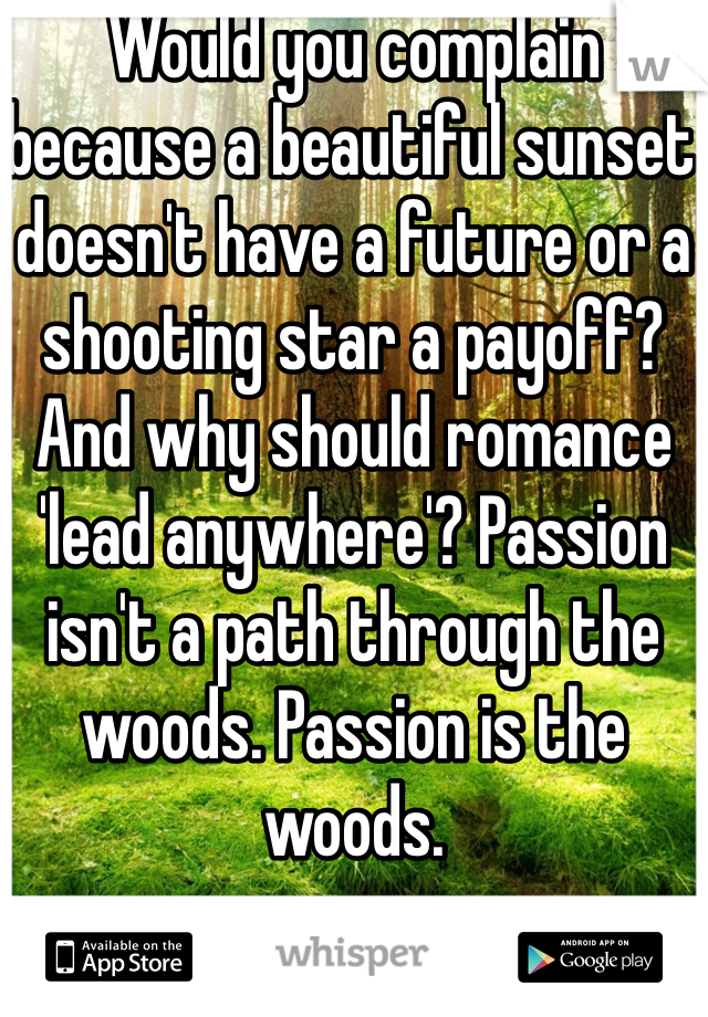 Would you complain because a beautiful sunset doesn't have a future or a shooting star a payoff? And why should romance 'lead anywhere'? Passion isn't a path through the woods. Passion is the woods.