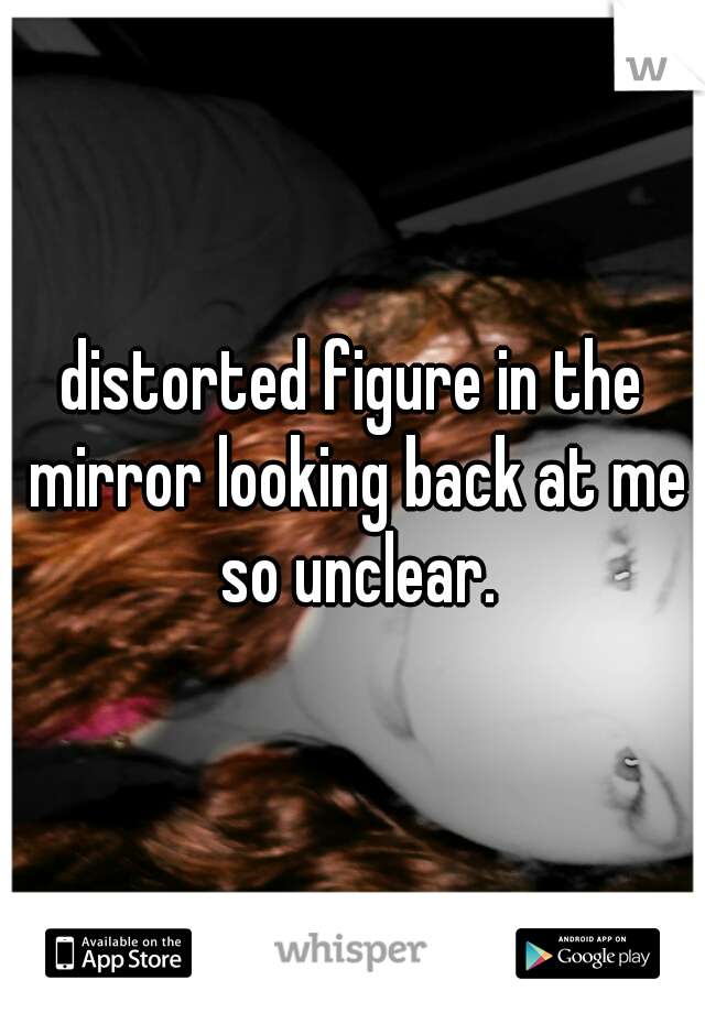 distorted figure in the mirror looking back at me so unclear.