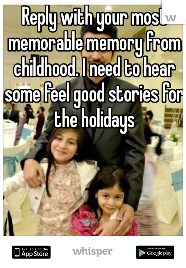 Reply with your most memorable memory from childhood. I need to hear some feel good stories for the holidays