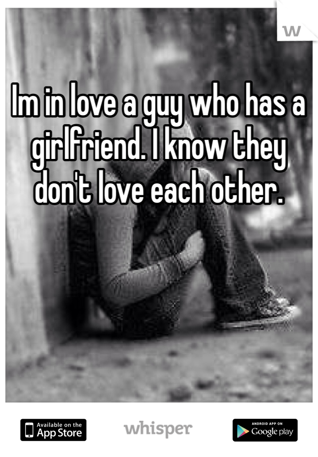 Im in love a guy who has a girlfriend. I know they don't love each other.