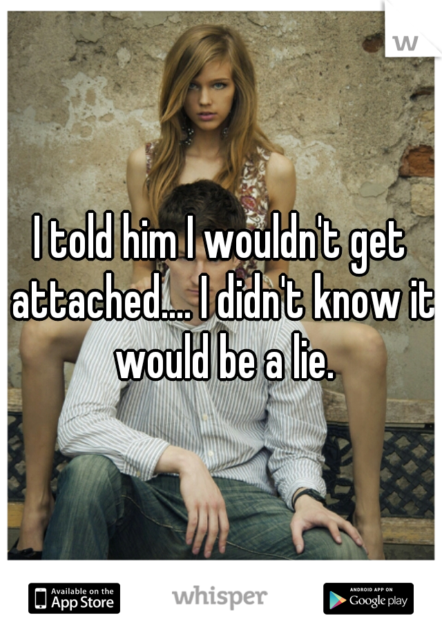 I told him I wouldn't get attached.... I didn't know it would be a lie.