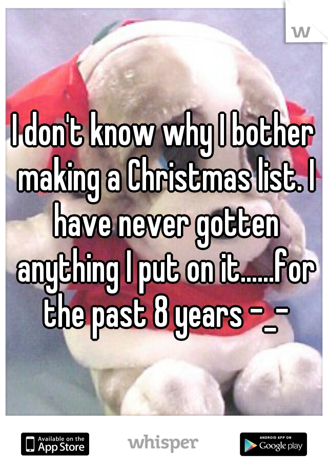 I don't know why I bother making a Christmas list. I have never gotten anything I put on it......for the past 8 years -_-