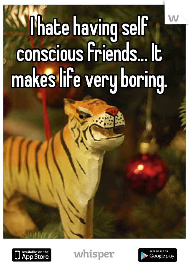I hate having self conscious friends... It makes life very boring.