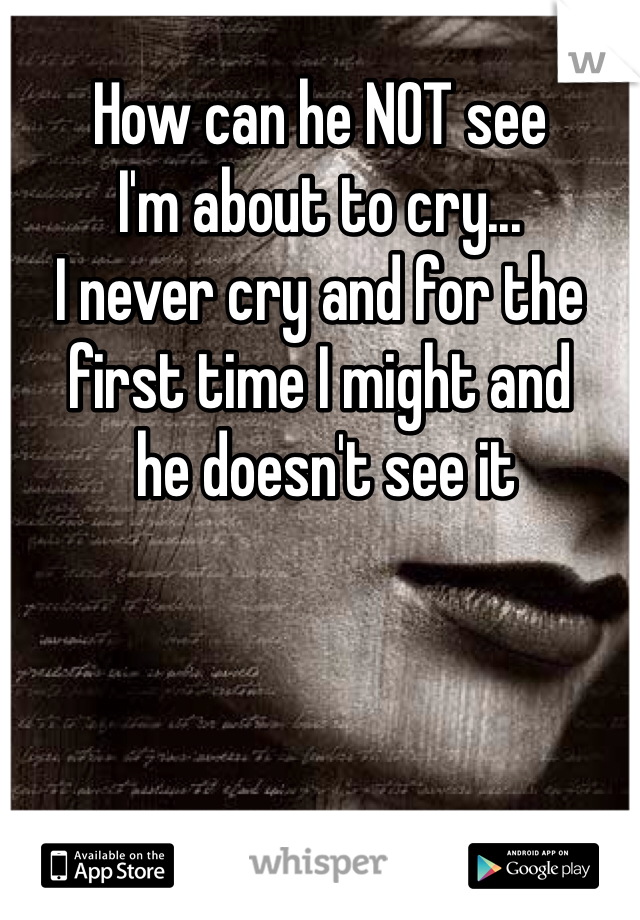 How can he NOT see  I'm about to cry... I never cry and for the first time I might and   he doesn't see it