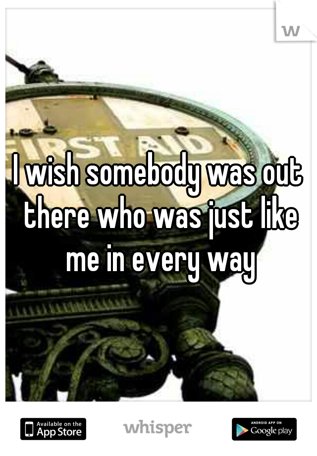 I wish somebody was out there who was just like me in every way