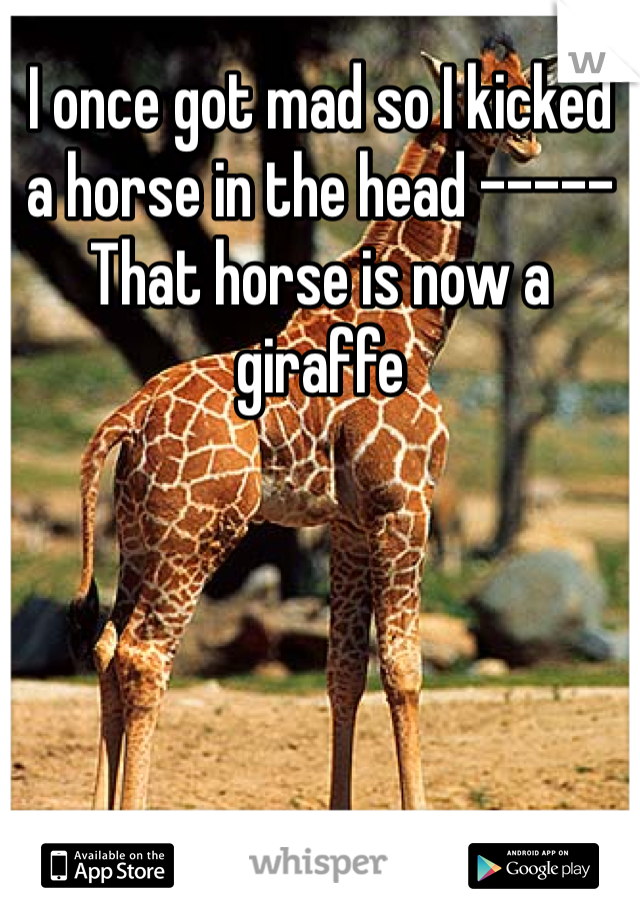 I once got mad so I kicked a horse in the head ----- That horse is now a giraffe