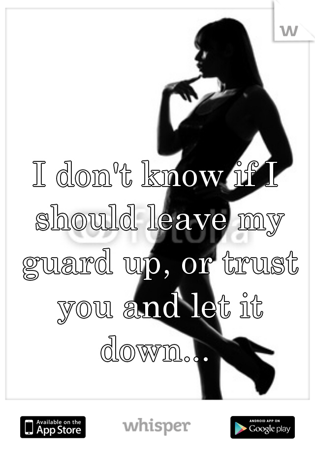 I don't know if I should leave my guard up, or trust you and let it down...