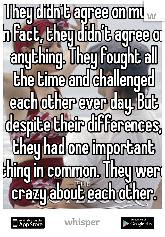 They didn't agree on much. In fact, they didn't agree on anything. They fought all the time and challenged each other ever day. But despite their differences, they had one important thing in common. They were crazy about each other.