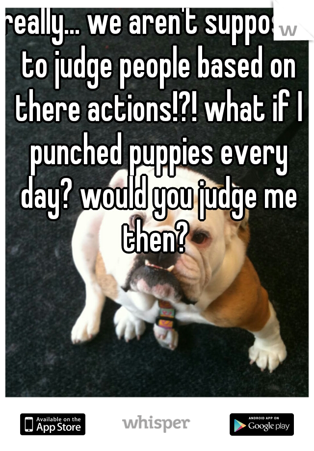 really... we aren't supposed to judge people based on there actions!?! what if I punched puppies every day? would you judge me then?