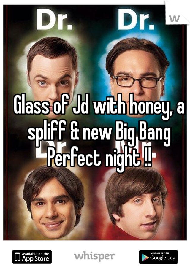 Glass of Jd with honey, a spliff & new Big Bang  Perfect night !!