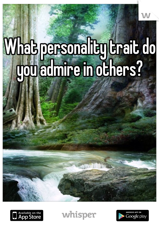 What personality trait do you admire in others?
