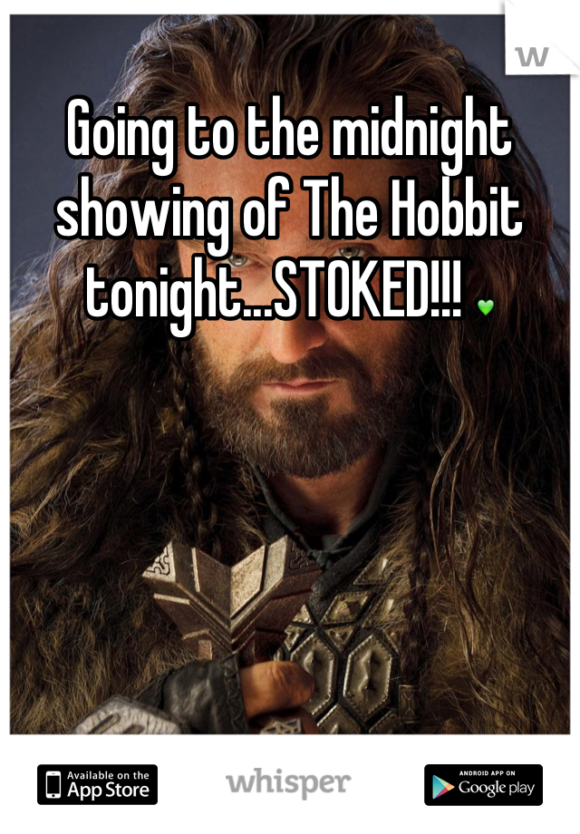 Going to the midnight showing of The Hobbit tonight...STOKED!!! 💚