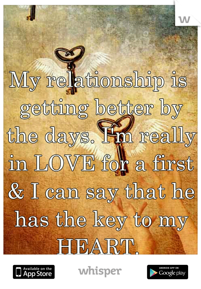 My relationship is getting better by the days. I'm really in LOVE for a first & I can say that he has the key to my HEART.
