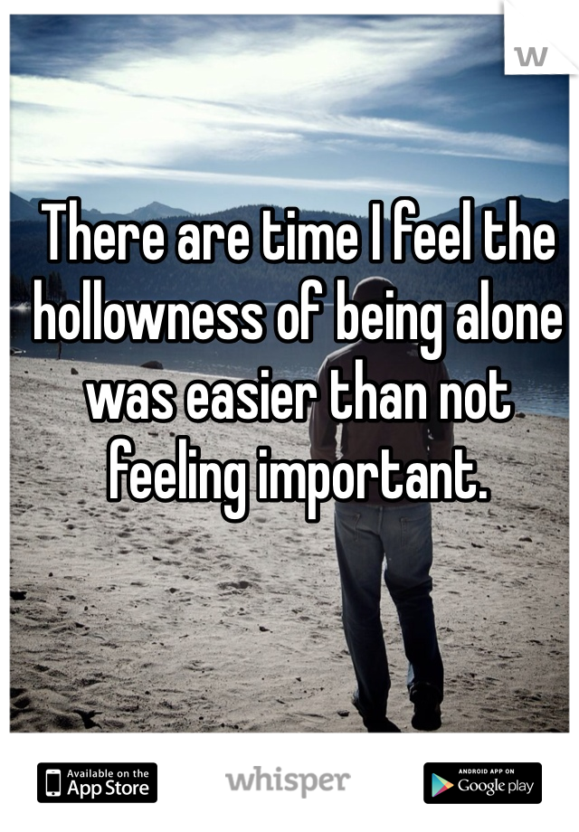 There are time I feel the hollowness of being alone was easier than not feeling important.