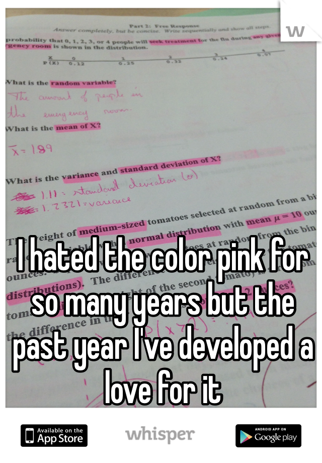 I hated the color pink for so many years but the past year I've developed a love for it
