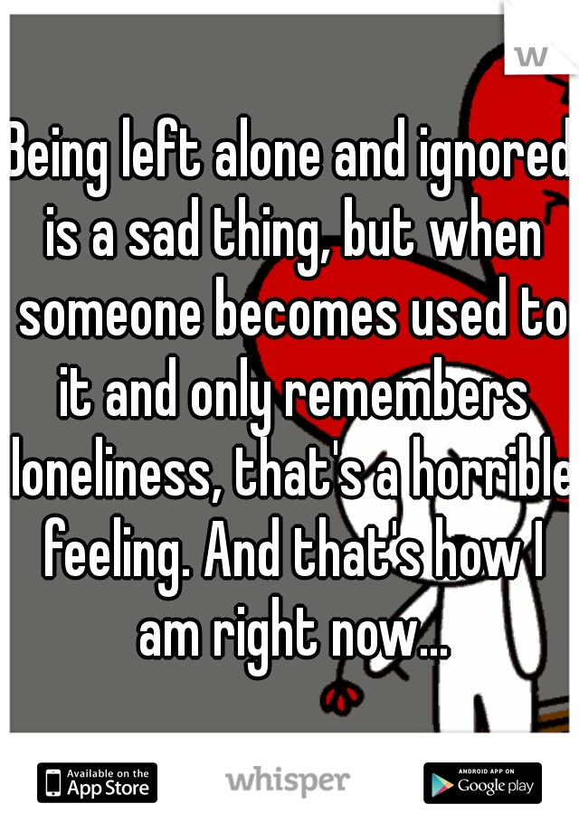 Being left alone and ignored is a sad thing, but when someone becomes used to it and only remembers loneliness, that's a horrible feeling. And that's how I am right now...