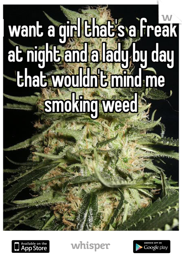I want a girl that's a freak at night and a lady by day that wouldn't mind me smoking weed