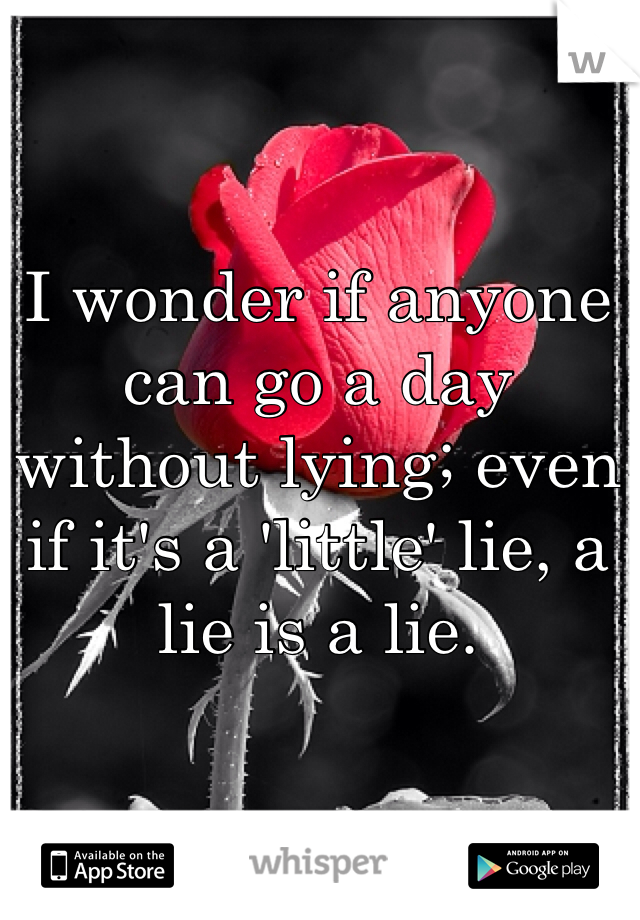 I wonder if anyone can go a day without lying; even if it's a 'little' lie, a lie is a lie.