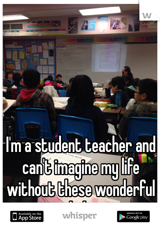I'm a student teacher and can't imagine my life without these wonderful kids