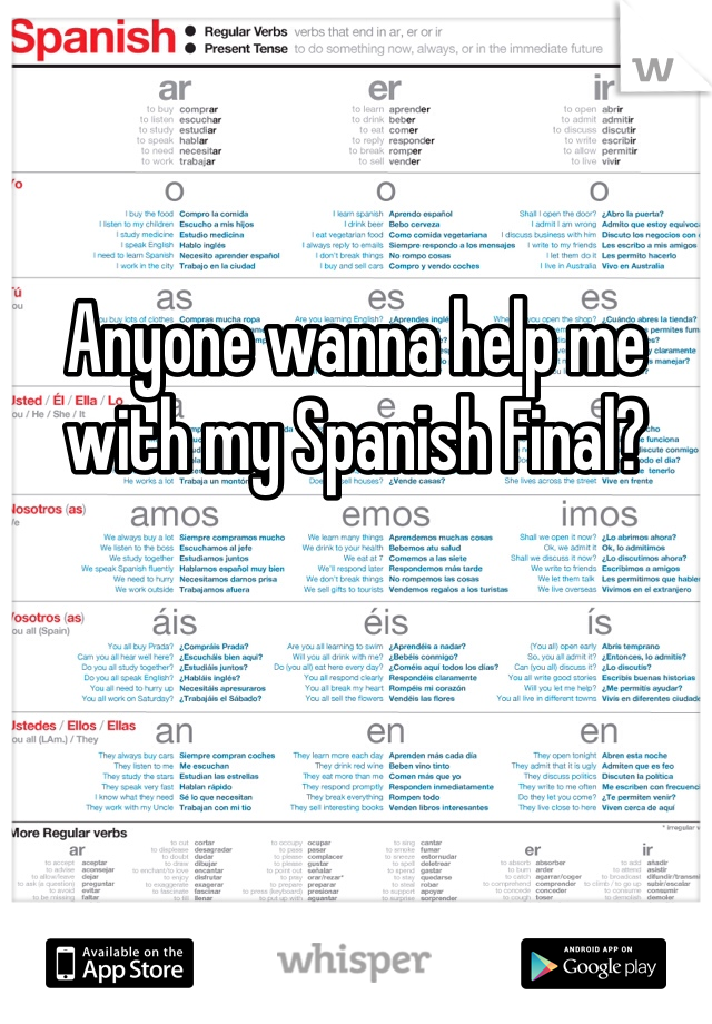 Anyone wanna help me with my Spanish Final?