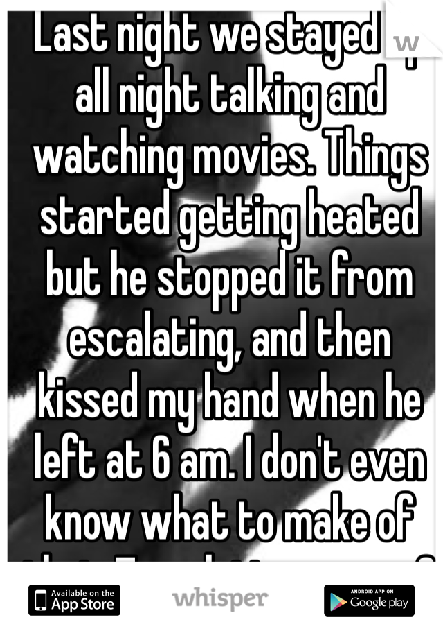 Last night we stayed up all night talking and watching movies. Things started getting heated but he stopped it from escalating, and then kissed my hand when he left at 6 am. I don't even know what to make of that. Translation anyone?