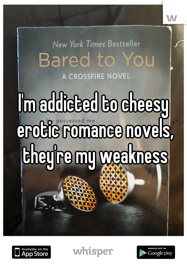 I'm addicted to cheesy erotic romance novels, they're my weakness