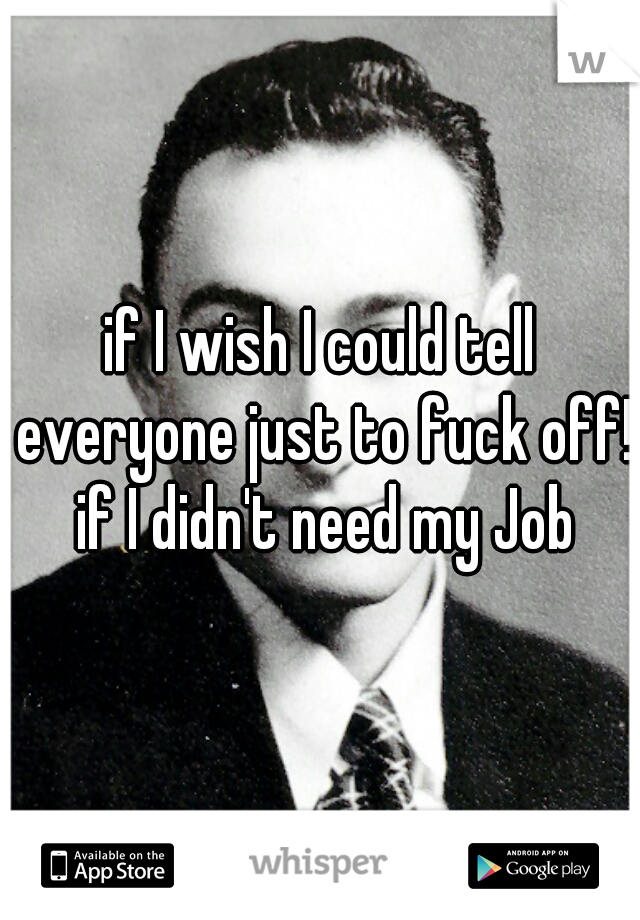 if I wish I could tell everyone just to fuck off! if I didn't need my Job