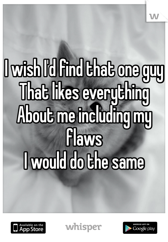 I wish I'd find that one guy  That likes everything About me including my flaws  I would do the same