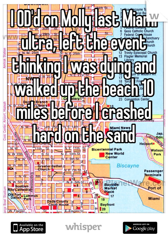 I OD'd on Molly last Miami ultra, left the event thinking I was dying and walked up the beach 10 miles before I crashed hard on the sand