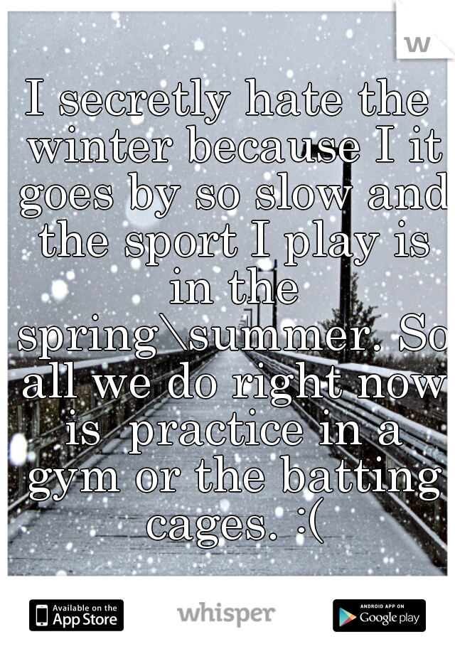 I secretly hate the winter because I it goes by so slow and the sport I play is in the spring\summer. So all we do right now is  practice in a gym or the batting cages. :(