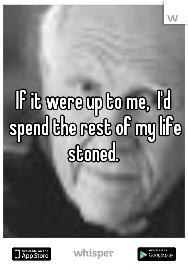 If it were up to me,  I'd spend the rest of my life stoned.