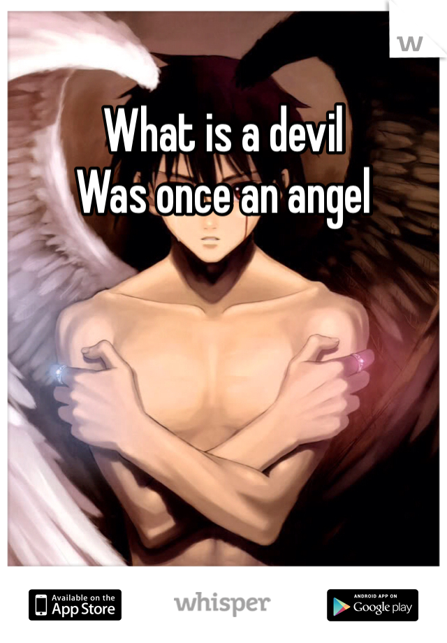 What is a devil  Was once an angel