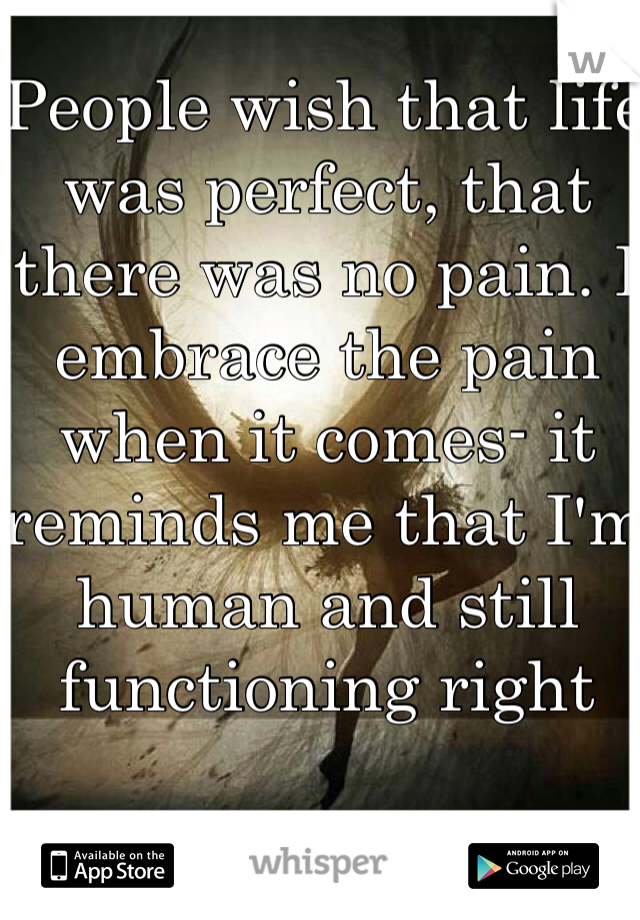 People wish that life was perfect, that there was no pain. I embrace the pain when it comes- it reminds me that I'm human and still functioning right