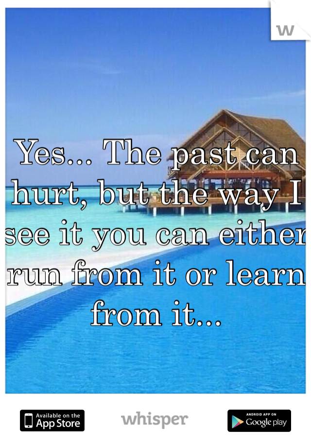 Yes... The past can hurt, but the way I see it you can either run from it or learn from it...