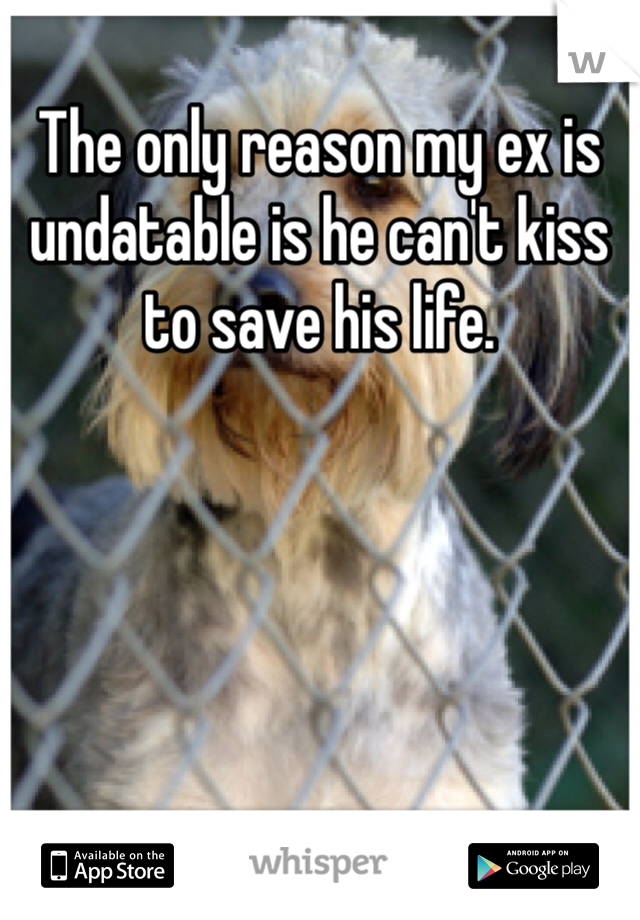 The only reason my ex is undatable is he can't kiss to save his life.