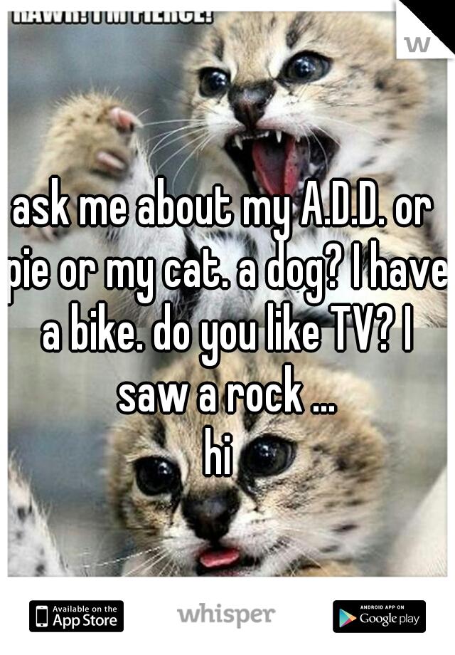ask me about my A.D.D. or pie or my cat. a dog? I have a bike. do you like TV? I saw a rock ...  hi