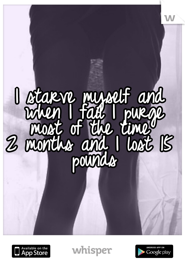 I starve myself and when I fail I purge most of the time   2 months and I lost 15 pounds