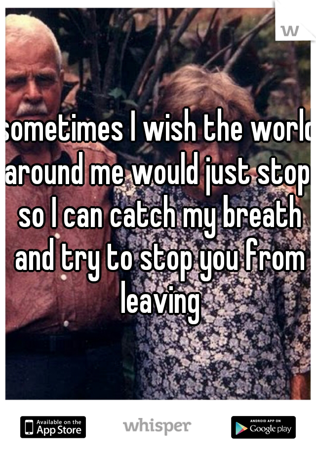 sometimes I wish the world around me would just stop. so I can catch my breath and try to stop you from leaving