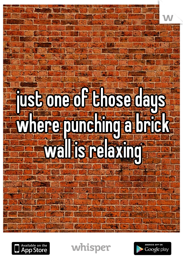 just one of those days where punching a brick wall is relaxing