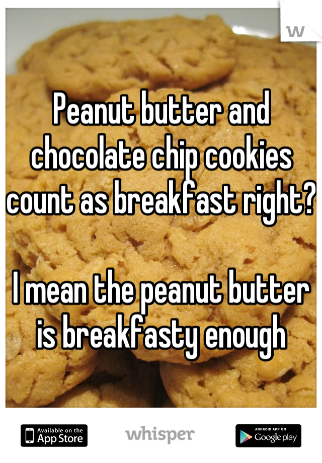 Peanut butter and chocolate chip cookies count as breakfast right?  I mean the peanut butter is breakfasty enough
